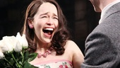 Here's Holly! Emilia Clarke has a priceless reaction to her opening night bouquet from her leading man.