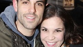 Mamma Mia! star Zak Resnick and Lindsay Mendez catch up at Hands on a Hardbody.