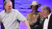 Hardbody star Keith Carradine leads the real JD Drew out on stage as Scott Wakefield looks on.