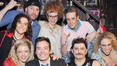 Jimmy Fallon is all smiles backstage with the cast of Rock of Ages.