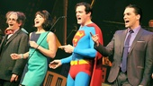 It's a Bird…It's a Plane…It's Superman stars David Pittu, Jenny Powers, Edward Watts and Will Swenson sing out during the musical's curtain call.