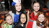 Lilla Crawford (second from left) shares her big day with Annie girls Brooklyn Shuck (standby), Junah Jang (Tessie), Madie Rae DiPietro (July) and Sadie Sink (standby).