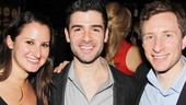 Talent manager Jen Namoff and casting director Craig Burns rally around The Last Five Years star Adam Kantor on opening night.