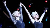 Amy Spanger (Roxie Hart) and Amra-Faye Wright (Velma Kelly) acknowledge the applause.