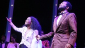 Valisia LeKae and Brandon Victor Dixon (as Diana Ross and Berry Gordy) greet the crowd during Motown: The Musical's opening night curtain call.