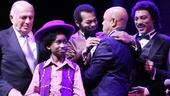 Producer Doug Morris joins Raymond Luke Jr., Brandon Victor Dixon, Berry Gordy and Charl Brown in the onstage celebration.