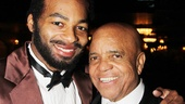 In full Berry Gordy costume, Brandon Victor Dixon pals around with the real Gordy, who wrote the book for Motown: The Musical.
