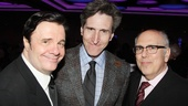 Playwright Paul Rudnick is bookended by Nathan Lane and Breakfast at Tiffanys cast member Lee Wilkof. 