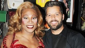Kinky Boots star Billy Porter welcomes Ricky Martin backstage at the Al Hirschfeld Theatre.