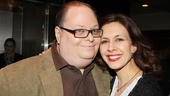 Scribe Richard Greenberg and Jessica Hecht, who plays the lovely Julie, take a moment to pose for a photo at the party.