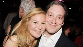 Tony nominee Jennifer Westfeldt congratulates The Assembled Parties' Jeremy Shamos.