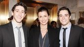 The gorgeous Bridget Moynahan gets between Newsies hunks Ben Fankhauser and Corey Cott. 