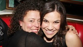 New Wicked star Lindsay Mendez gets a huge welcome from the shows assistant director, Lisa Leguillou.
