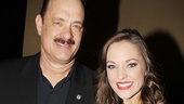 Lucky Guy headliner Tom Hanks snaps a photo with Cinderella herself, two-time nominee Laura Osnes.