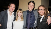 Matilda's trio of acting nominees Bertie Carvel, Lauren Ward and Gabriel Ebert share the love with composer Tim Minchin.