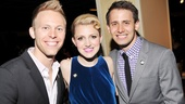 A Christmas Story songwriting duo Justin Paul and Benj Pasek celebrate with fellow first-time nominee (and Dogfight alum) Annaleigh Ashford.