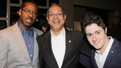 Lucky Guy actor Courtney B. Vance smiles with director George C. Wolfe and writer Jacob Bernstein (son of the show's late nominated playwright Nora Ephron).