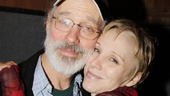 Married duo Terrence Mann and Charlotte dAmboise are ready for a big day of recording as King Charles and Fastrada.