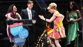 Stephanie J. Block joins in as Kinky Boots dame Annaleigh Ashford dances her way up to the podium to accept the award for Favorite Funny Performance.