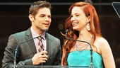 Sierra Boggess shares a laugh with her co-presenter Jeremy Jordan, who sang the praises of being the only straight guy in a really gay profession.