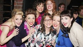 Heres one for the ladies! Kinky gals Annaleigh Ashford, Ellyn Marie Marsh, Caroline Bowman, Adinah Alexander, Jennifer Perry and Celina Carvajal score a photo op with Patti LuPone.