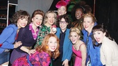 Cast members Caroline Bowman, Ellyn Marie Marsh, Adinah Alexander, Tory Ross, Stephen Carrasco, Kyle Taylor Parker, Annaleigh Ashford, Jennifer Perry and Celina Carvajal surround Tony winner Lily Tomlin.
