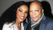 Leading lady Valisia LeKae (who plays Diana Ross) shares an intimate moment backstage with Quincy Jones.