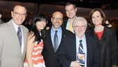 Vanya producers Joey Parnes, Susan Wagner, Larry Hirschhorn, John Johnson, playwright Christopher Durang and star Sigourney Weaver are proud of the show's win for Distinguished Play!