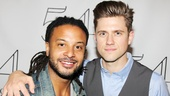 Brandon Jay McLaren gets an armful of Aaron Tveit after catching his buddy's cabaret concert.