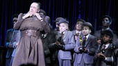 Matilda Tony nominee Bertie Carvel (as evil headmistress Miss Trunchbull) performs with the pint-sized cast at the event.