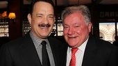 Tom Hanks shares a laugh with Shubert Organization president Robert E. Wankel.