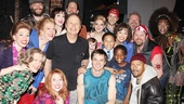 The cast gathers for one final photo with superstar Billy Crystal backstage at the Al Hirschfeld Theatre.