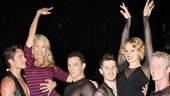 Christie Brinkley and Amy Spanger get a lift from Chicago cast members Nathan Madden, Amos Wolff, Denny Pashcall and Brian O'Brien.