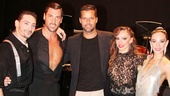 Featured dancers Juan Paulo Horvath and Victoria Galoto flank Forever Tango headliners Maksim Chmerkovskiy and Karina Smirnoff and guest Ricky Martin.