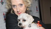 Carol Kane gives a Wicked good squeeze to one of this year's dogs up for adoption.