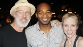 Brandon Victor Dixon receives some affection backstage from Pippin married duo Terrence Mann and Charlotte d'Amboise.