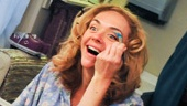 Rachel Bay Jones, who plays Catherine in the Tony-winning revival, brushes on eyeshadow in her colorful dressing room.
