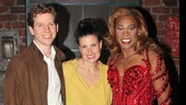 If/Then star Idina Menzel shares a big smile with Stark Sands and Billy Porter backstage at the Al Hirschfeld.