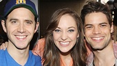 Cinderella star Laura Osnes is surrounded by her stage sweethearts: Santino Fontana, her prince in Cinderella, and Jeremy Jordan, her former Bonnie & Clyde co-star.