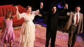 Celia Keenan-Bolger, Cherry Jones, Zachary Quinto and Brian J. Smith join hands for their curtain call on opening night.