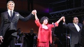 Tony-winning trifecta! Chita Rivera, along with Tommy Tune and Ben Vereen, take their bows at the August Wilson Theatre.