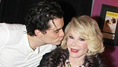 Romeo and Juliet's Orlando Bloom plants a friendly kiss on Joan Rivers' cheek backstage at the Richard Rodgers Theatre!