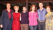 Cast members Jeb Brown, Anika Larsen, Jarrod Spector, Jessie Mueller, Jake Epstein & Liz Larsen cozy up for a cast portrait.