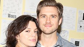 Broadway babe Aaron Tveit gets close to his Graceland co-star Vanessa Ferlito backstage at the Vivian Beaumont Theater.