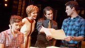 Jessie Mueller as Carole King, Anika Larson as Cynthia Weil, Jarrod Spector as Barry Mann, and Jake Epstein as Gerry Goffin in 'Beautiful: The Carole King Musical'