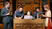 Jeb Brown as Don Kirshner, Jake Epstein as Gerry Goffin, Jessie Mueller as Carole King, Jarrod Spector as Barry Mann & Anika Larsen as Cynthia Weil in 'Beautiful: The Carole King Musical'
