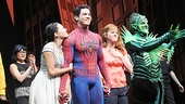 Spider-Man alternate Jason Gotay steps forward for a final bow with castmates Christina DeCicco, Rebecca Faulkenberry and Robert Cuccioli.