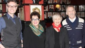 The Velocity of Autumn playwright Eric Coble, director Molly Smith and stars Estelle Parsons and Stephen Spinella line up for a photo in Sardi's.