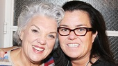 Mothers and Sons star Tyne Daly and Rosie O'Donnell reunite backstage after starring in Love, Loss and What I Wore together in 2009.