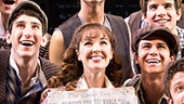 Liana Hunt as Katherine Plumber and the cast of Newsies. Photo by Matthew Murphy